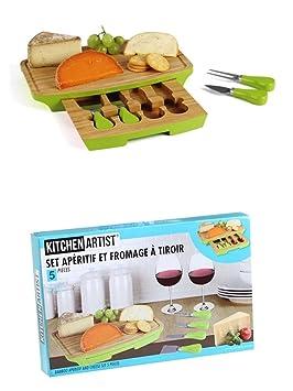 Queso – Set 5 piezas Queso Tabla Queso Cubiertos Cuchillo de queso Tabla de cortar Madera