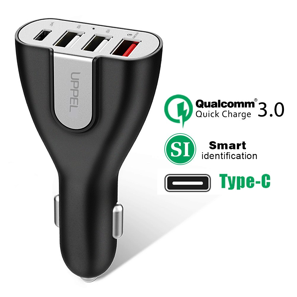 UPPEL QC3.0 Car Charger 50W USB C Port 3 USB Smart Port Car Kit Support Qualcomm Quick Charge 3.0 (Quick Charge 2.0 Compatible) for Smart Phone Other iOS and Android Devices