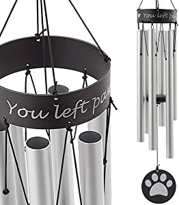 TAKEKIT Pet Memorial Wind Chime, Sympathy and Remembrance Gift for Pet Owner, Grieving The Loss of Dogs or Cats, 30 Inches Paw Print Wind Chime for Indoor and Outdoor Decoration