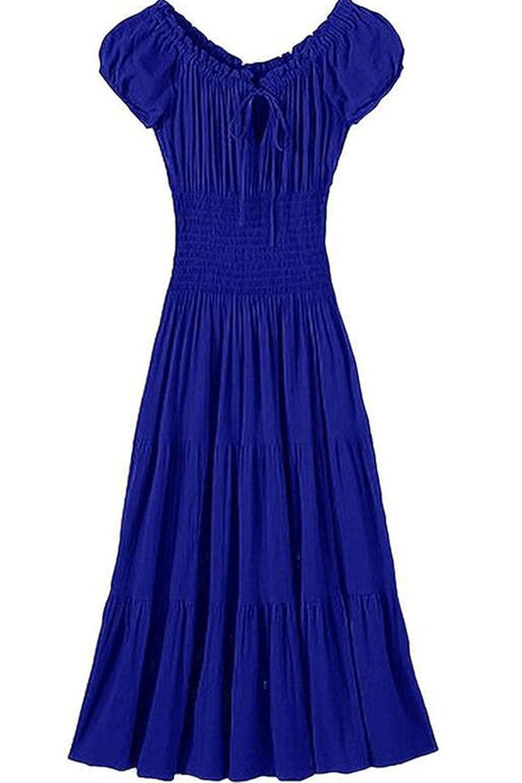c7a58ce1248 Zumeet Women Long Length A-Line Dress with Short Sleeves Elasticated Waist Dress  Blue at Amazon Women s Clothing store