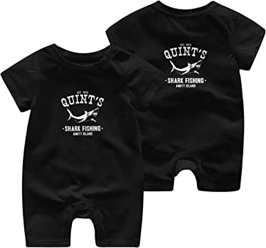 Baby Boys Girls Romper Jumpsuit Quints Shark Fishing Newborn Short Sleeve Bodysuits Infant Outfit Funny Onesie for 0-2T