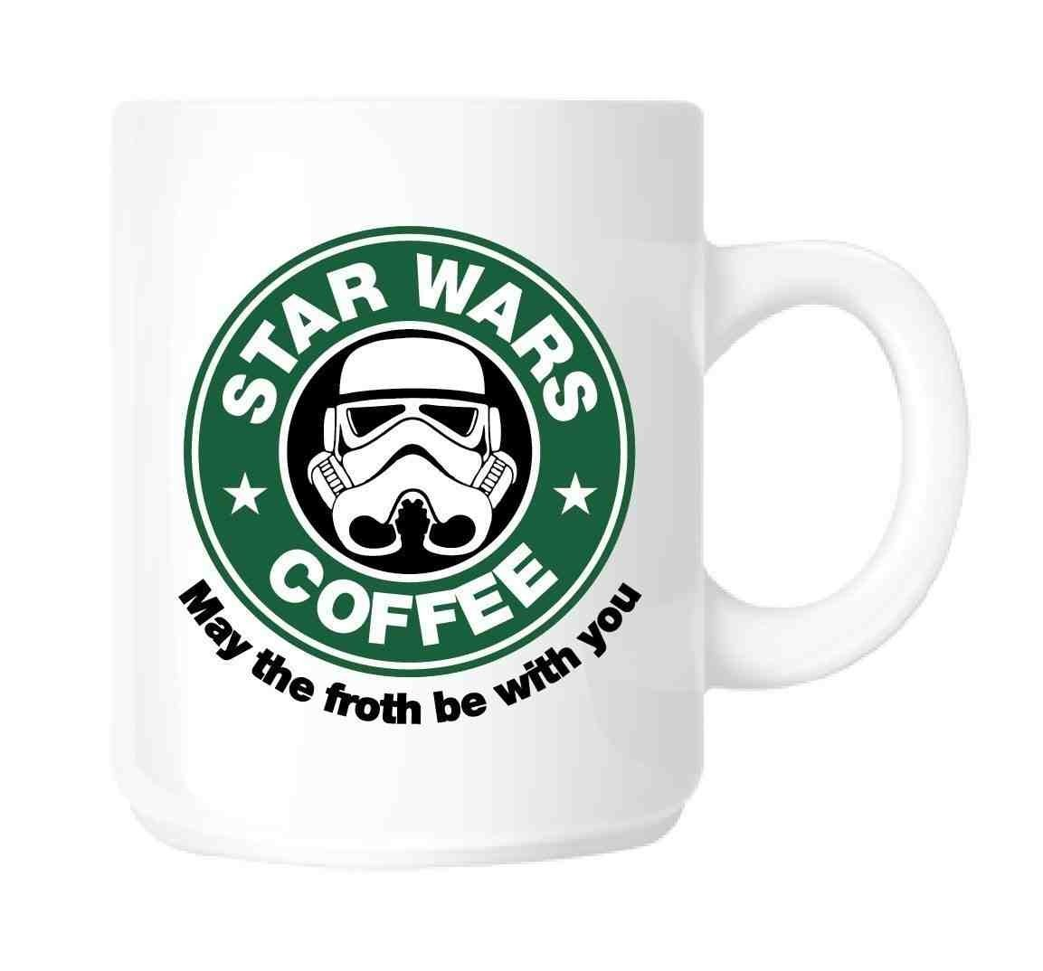 Star Wars Coffee Mug in Ceramic | Parody STAR WARS - STARBUCKS May The Froth Be With You Star Wars by DURSHANI