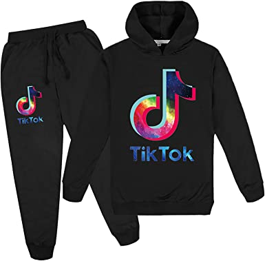 Youth Fashion TIK-TOK Logo Hoodies and Fashion Sweatpants Tracksuit for Boys Girls
