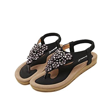 f0f202ba5 Camfosy Women s Flip Flops Flat Sandals Peep Clip Toes Roman Sandals  Rhinestone Flower Elastic T-
