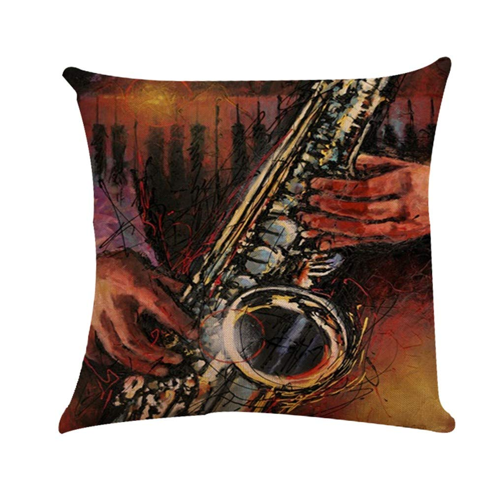 Cyhulu Quote Throw Pillow Cushion Cover, Realistic Instruments Print Square Pillow Case for Home Living Room Bedroom Sofa Art Decoration, Guitar, Saxophone, Piano (C, One size)