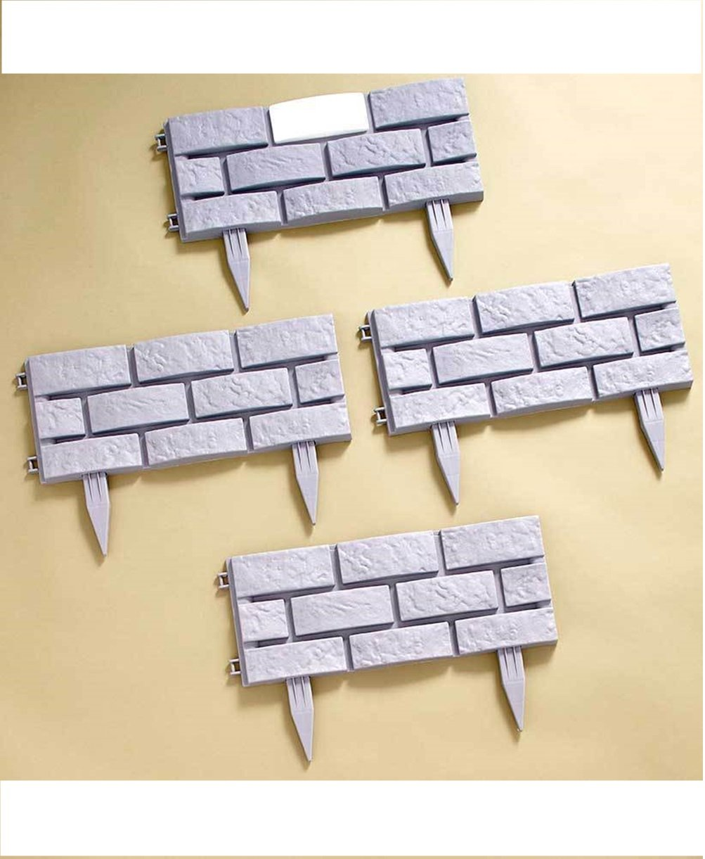 Pro-G 4 Panals Solar Lighted Gray Brick-Look Border Removable Stakes Surround Gardent Tree Decor Night