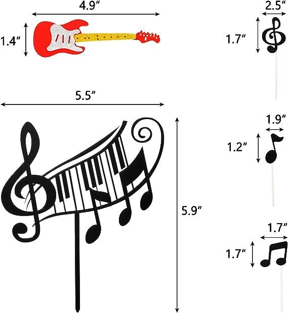 SUPVOX 6 unids Notas Musicales Adornos de la Magdalena Notas de m/úsica Decoraciones Fuentes del Partido Pastel de cumplea/ños Baby Showers