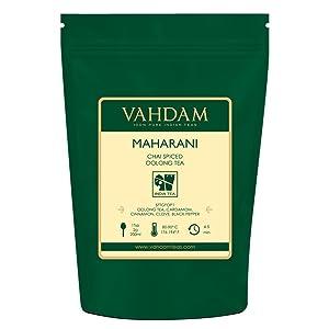 VAHDAM, Maharani Chai Oolong Tea (50 Cups)   100% NATURAL SPICES   Masala Chai Tea Loose Leaf   Cardamom, Cinnamon, Clove, Black Pepper   Spiced Chai Tea   Brew Hot Tea, Iced Tea or Chai Latte   100gm