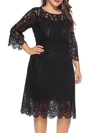 Romacci Women Vintage Plus Size Dress Lace O-Neck Three Quarter ...