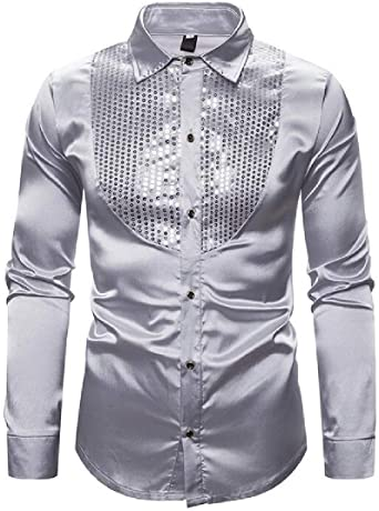 SHOWNO Mens Regular Fit Casual Button Up Long Sleeve Stand Collar Dress Work Shirt