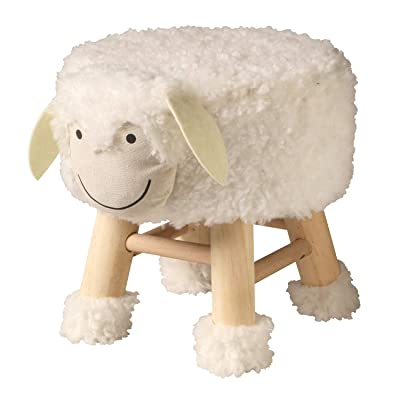 ART & ARTIFACT Cute White Sheep Stool - Fleece Covered Foot Rest and Child Seat: Kitchen & Dining