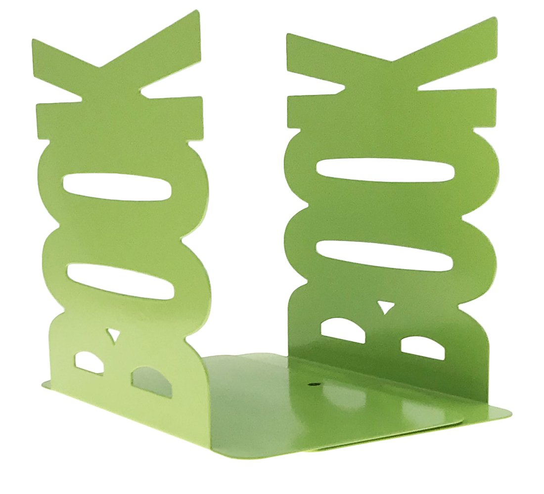 Arsdoll Simple Style Lengthways BOOK Pattern Heavy Duty Nonskid Iron Metal Bookend Decorative Book Holder Organizer For Office School Library Home Study Decoration Gift (Green)