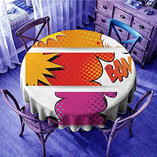 ScottDecor Superhero Wrinkle Free Tablecloths Comic Strip Bubbles Backdrop in Figure Logo Fantasy Fiction Theme Print Round Tablecloth Red Fuchsia Earth Yellow Diameter ()
