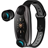PADY-Wearable Technology T90 2 in 1 Smart Bracelet Wireless Bluetooth Headset Combo Running Music Wristband Earphone Heart Ra