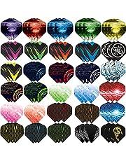 Ohaoduo 90 stuks dartflights, accessoires voor darts, standaard dartpijlen, flights, klassieke dartflights, voor stalen en zachte dartpijlen, standaardvorm, dartflight, wit, zwart, roze, rood, paars, roze, blauw, groen
