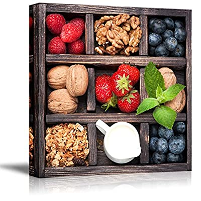 Breakfast Food in Vintage Box with Granola Nuts Berries Honey and Milk - Canvas Art Wall Art - 24