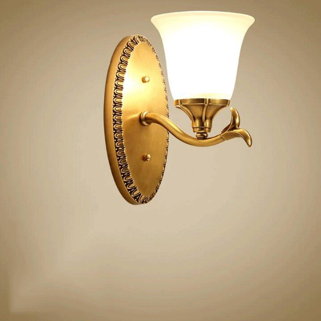 Unbekannt GAODUZI Voll Kupfer Wandleuchte Wohnzimmer Lampe Schlafzimmer Nacht Esszimmer Lampe Einzigen Kopf Spiegel Scheinwerfer E27 (Größe   15CM)