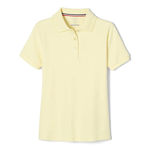 069642ad French Toast Big Girls' Short Sleeve Interlock Polo with Picot Collar,  Yellow, Large. Roll over image to zoom in