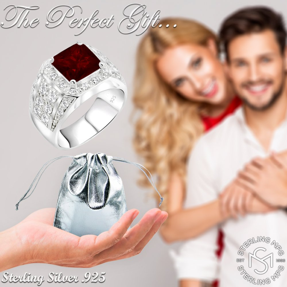 Men's Sterling Silver .925 Princess-Cut Ring Featuring a Synthetic Red Ruby Surrounded by 32 Fancy Round Prong-Set Cubic Zirconia Stones, Perfect for the Holidays (12) by Sterling Manufacturers (Image #6)