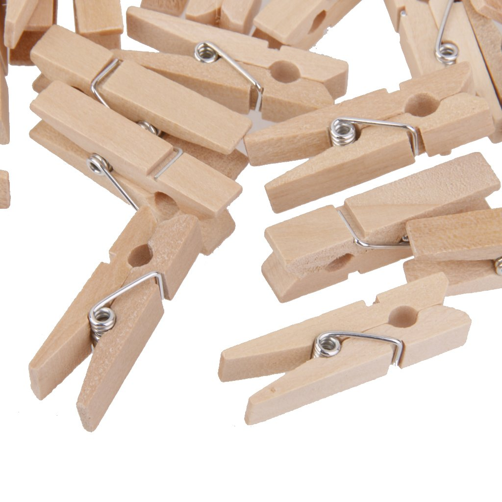50x Clavijas Pinzas Contactos de Madera Naturales Ropa Foto Papel DIY Mini Clips 25 3mm
