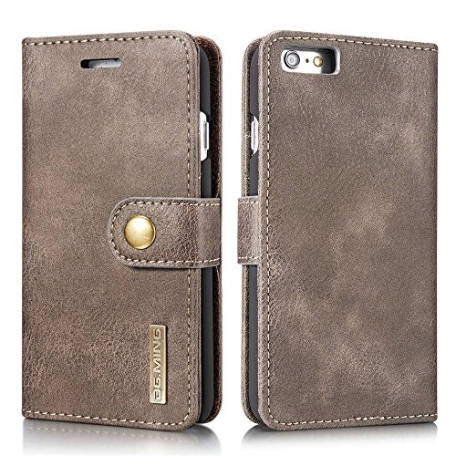 Genuine Cowhide Leather Case (DG.MING Magnetic Detachable 2 in 1 Vintage Genuine Cowhide Leather Folio Flip Wallet Cases Removable Retro 3 Card Slots Phone Back Cover for iPhone 6/6s 4.7 inch (Gray))