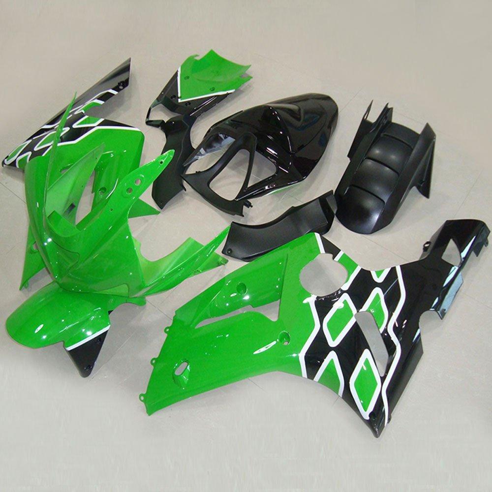 Amazon.com: Moto Onfire ABS Injection Green Black Fairing ...
