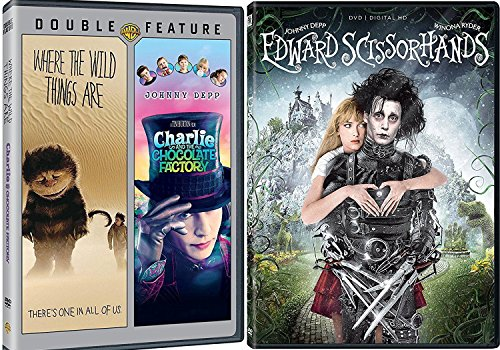 Edward Scissorhands + Charlie & The Chocolate Factory Tim Burton Johnny Depp & Where the Wild Things Are (DVD) Fantasy Action triple feature set