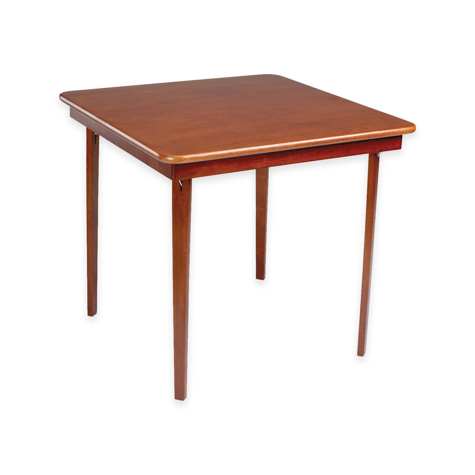 Straight Edge Hardwood Folding Card Table with Easy Steel Folding Mechanism in Warm Cherry Finish