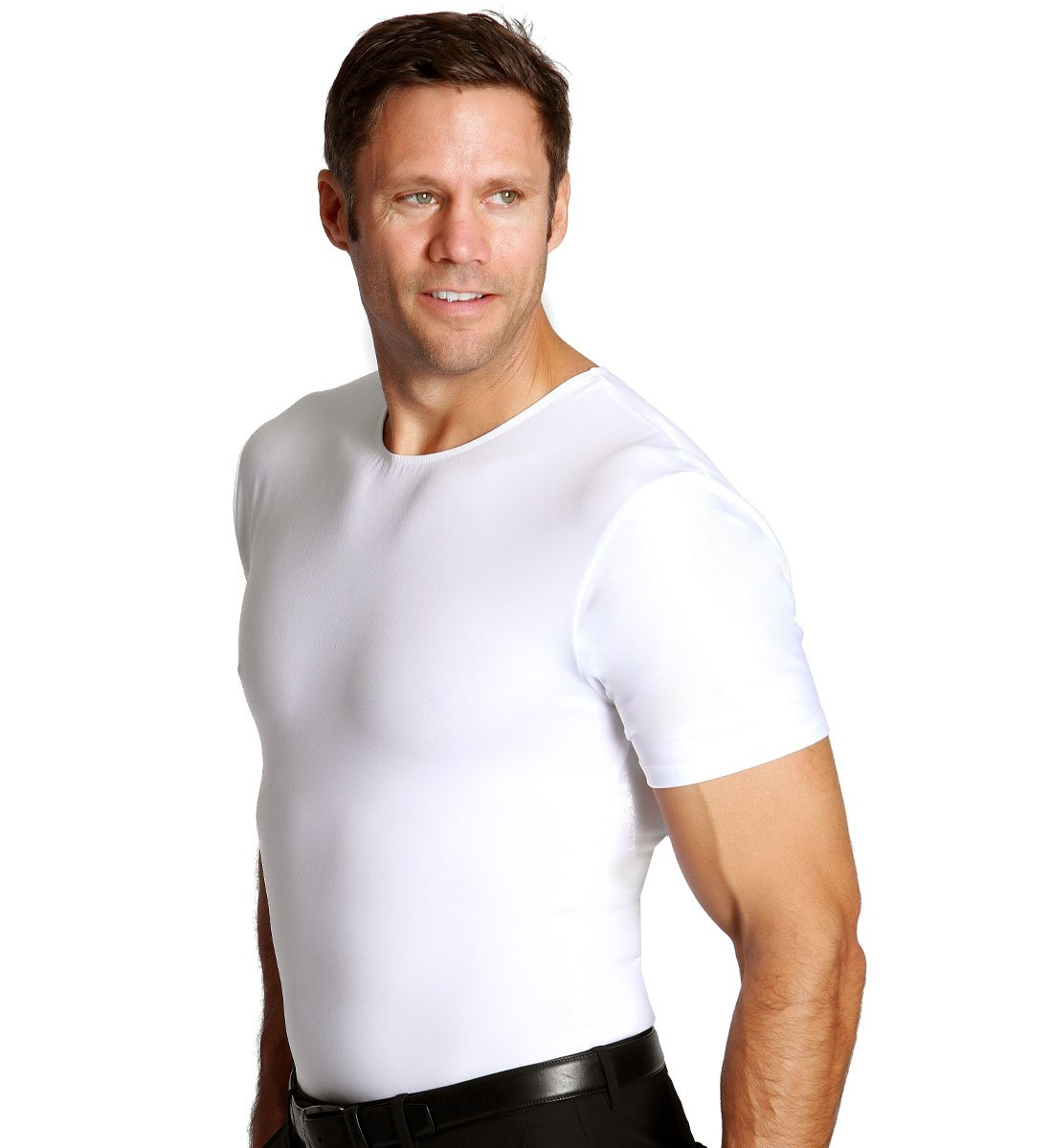 Insta Slim Men's Compression Crew-Neck T-Shirt (Large, White), The Magic Is In The Fabric! by Insta Slim (Image #3)