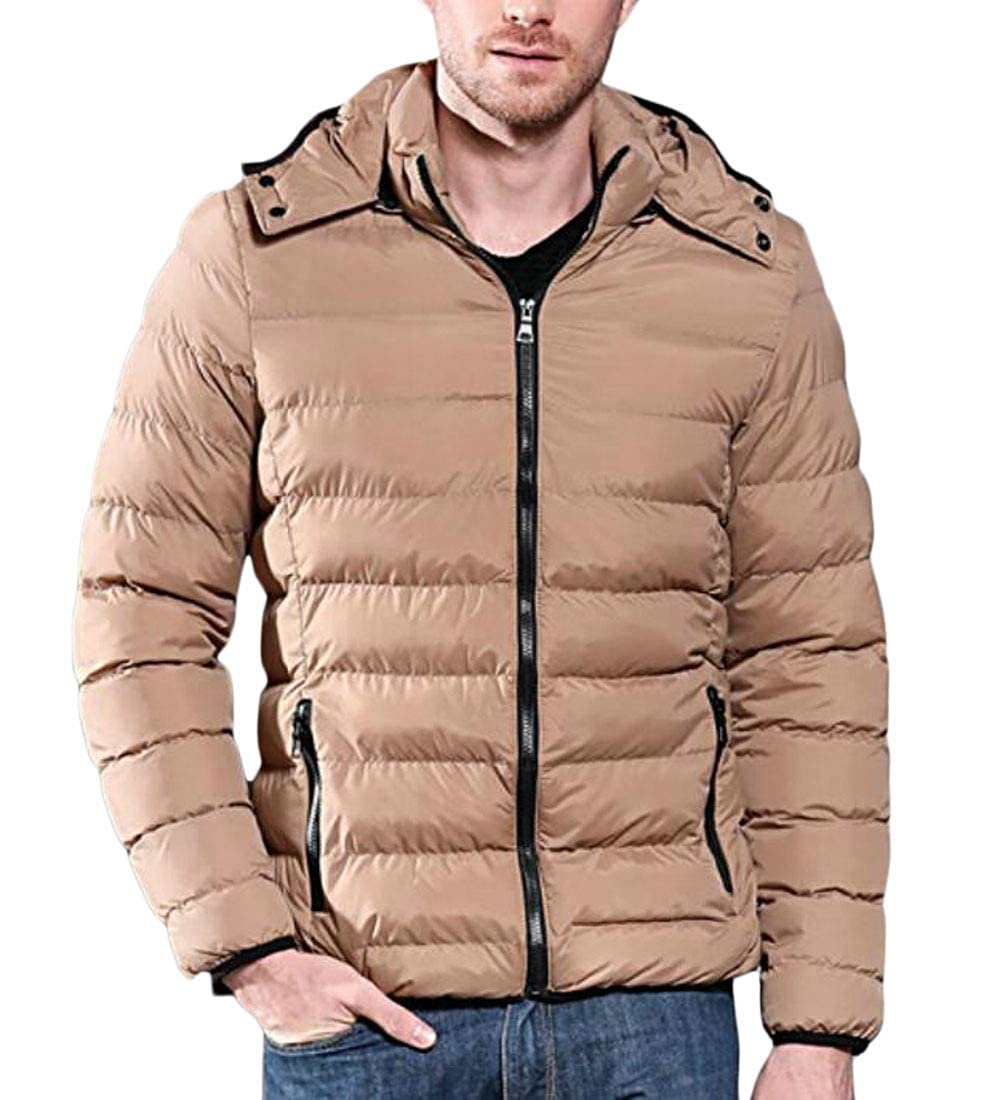 Beloved Mens Winter Quilted Puffer Jacket Lightweight Hooded Warm Thick Cotton Down Coat Parka
