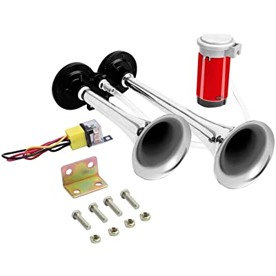 Carfka Train Horn Kit for Truck with Air Compressor, Super Loud 12V Car Electric Trains Horns for Vehicles, Dual Trumpet Air Horn Complete Kits for Easy to Install: Automotive