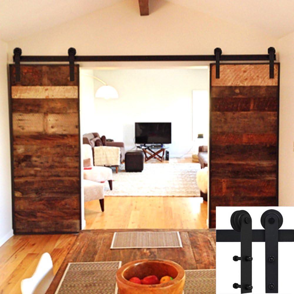 Hahaemall - Percha recta de metal doble para puerta corredera de madera para armario o garaje: Amazon.es: Bricolaje y herramientas