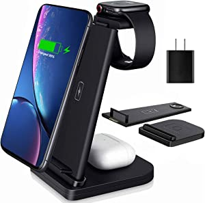 Wireless Charging Station, 3 in 1 Charging Station for Apple Product 15W Fast Charging for iPhone 11/12/Pro/Max/SEX/X/Xs Max/XR/8/8 Plus iWatch 5/4/3/2/1 AirPods Pro/2/1 Samsung S20/S10/S9/S8/