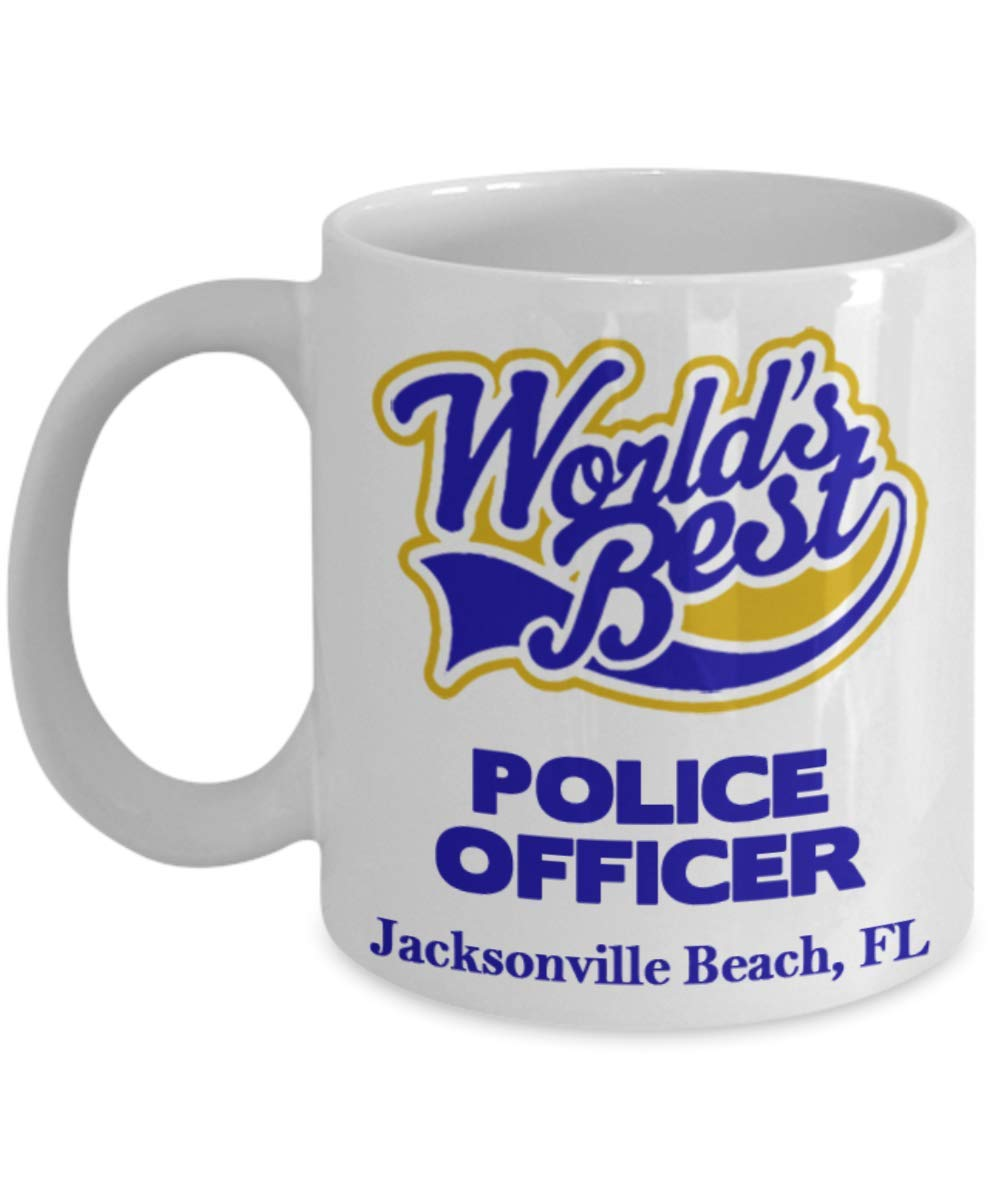 """Officer Coffee Mug:""""Best Police Officer In Jacksonville Beach, FL"""" Coffee/Tea Cup, Graduation/Congratulation Gift For Retiring Law Enforcement PD And Sheriff Deputy/Cops Living In Florida"""