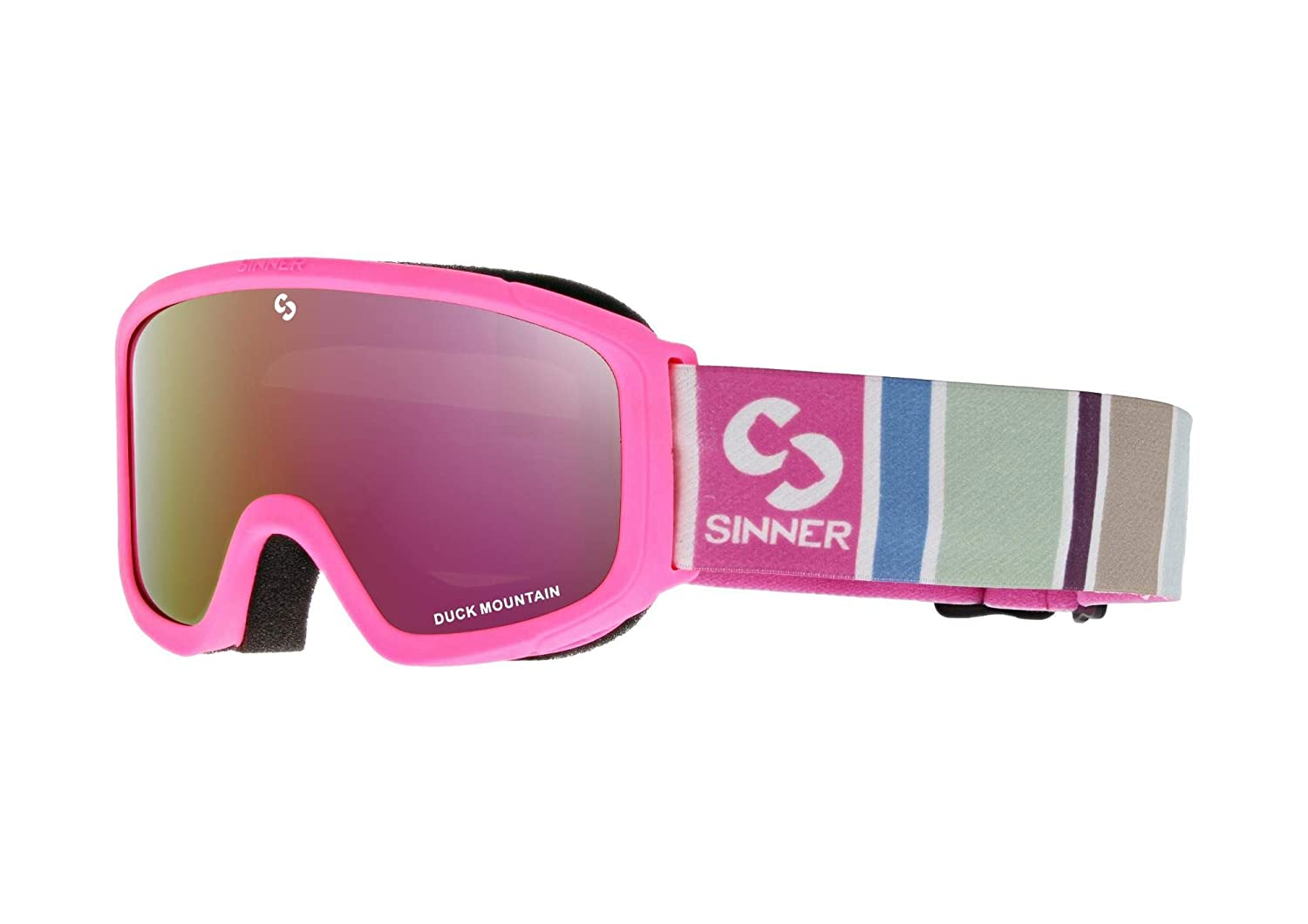 5e03a4764b2 Sinner Duck Mountain Childrens Ski Goggles in Pink Full Red Mirror   Amazon.co.uk  Sports   Outdoors