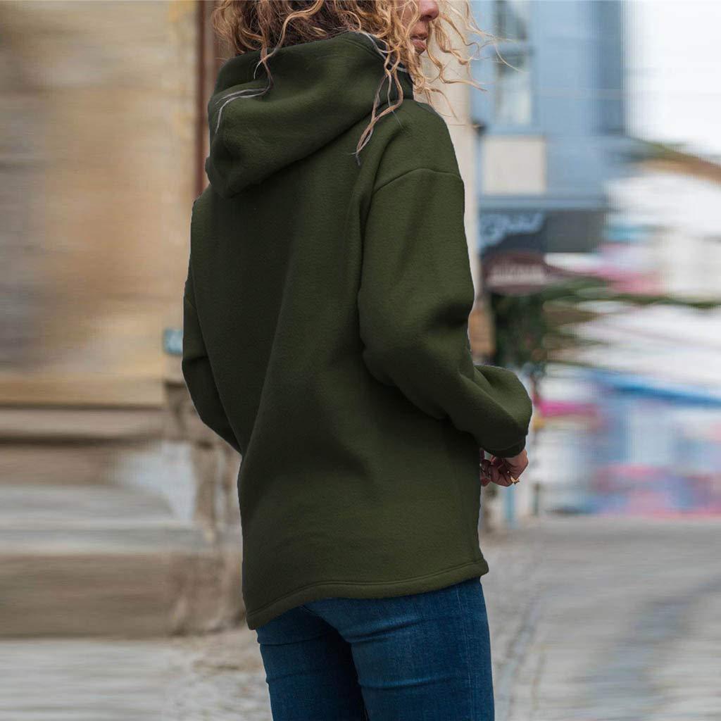 MOMOXI Sudaderas con Capucha Estampado S/ólido para Mujer Blusa con Capucha De Manga Larga Suelta para Mujer con Estampado De Blusa con Capucha 2019 Cuello Redondo Cord/ón Suelto