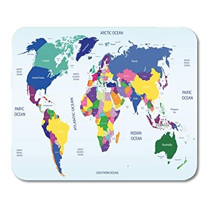 World Map Asia And Europe.Amazon Com Emvency Mouse Pads Country Colored Geopolitical World
