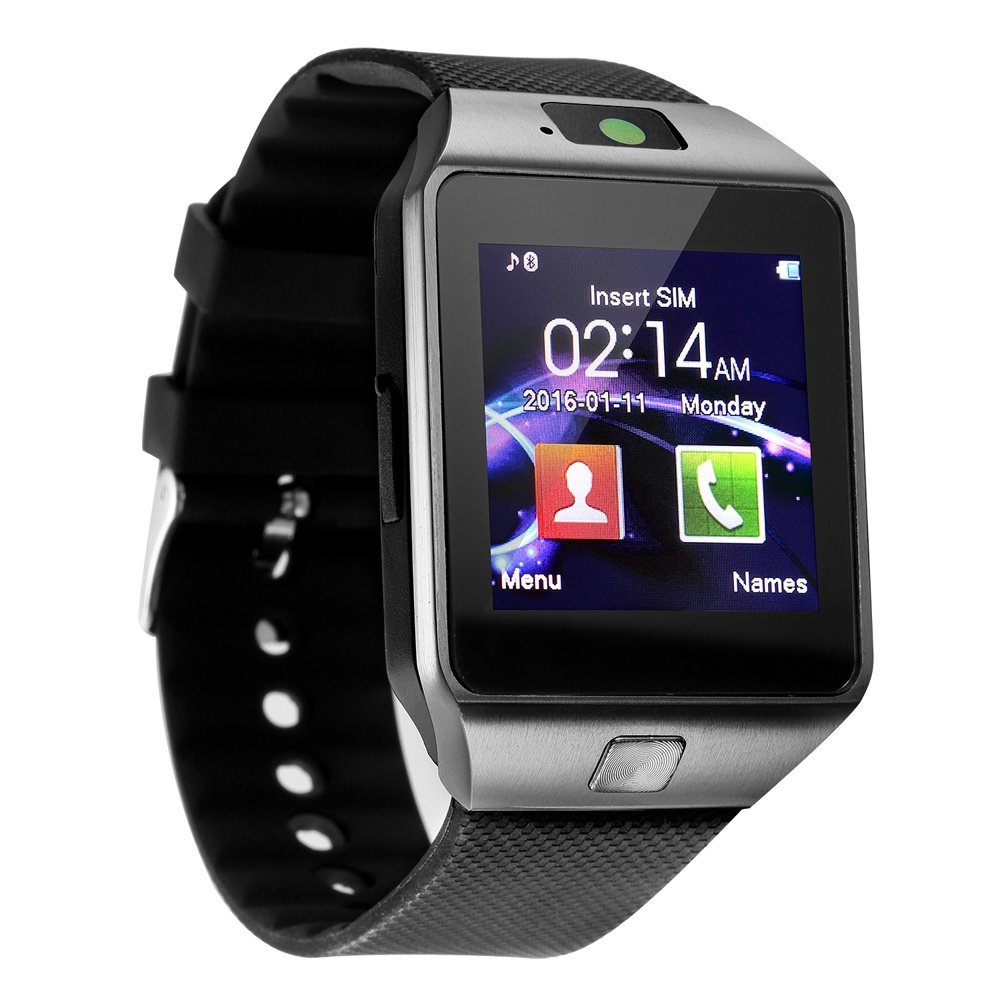 Bluetooth Smart Watch with Camera TF/SIM Card Slot and Sleep Monitor Pedometer Touch Screen Smartwatch for Android IOS iPhone Samsung LG Phones Men Women Kids (Black)