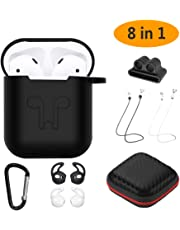 GeeRic Étui Protecteur AirPods, 8 in 1 AirPods 2/1 Cover (LED Non Visible) Coque Silicone Apple AirPods, Etui AirPods Accessoires Antichoc Anti-Perdu Sangle pour Apple Airpods Noir