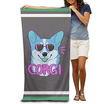 Toallas de baño divertidas y bonitas para perro Hipster Corgi, toallas de playa para adultos