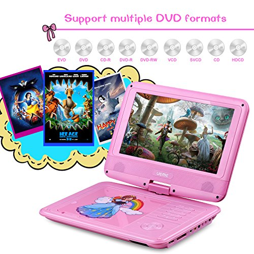 UEME 9'' Portable DVD Player with Car Headrest Mount Holder | Swivel Screen | Remote Control | Rechargeable Battery | SD Card Slot and USB Port, Personal DVD Player PD-0093 (Pink) by UEME (Image #4)