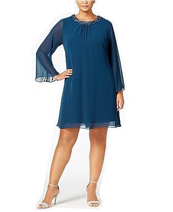 14af4cf7c0a SLNY SL Fashions Womens Plus Embellished Pleated Cocktail Dress Blue ...