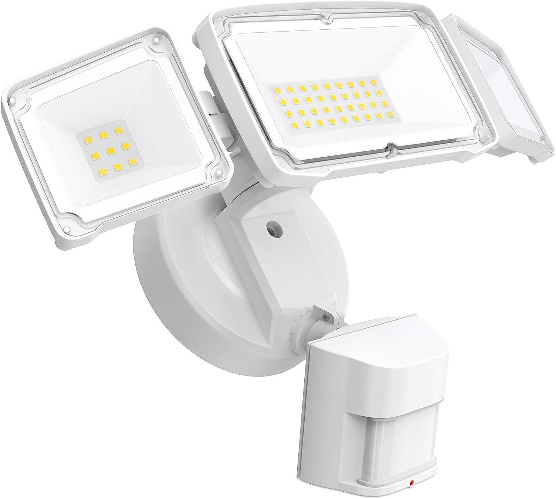 Freelicht 40W LED Security Lights Outdoor Motion Sensor Light, Waterproof IP65, 3800Lm, 5000K, 3 Head Adjustable LED Flood Light Outdoor Detection for Garage, Porch, Driveway, Yard