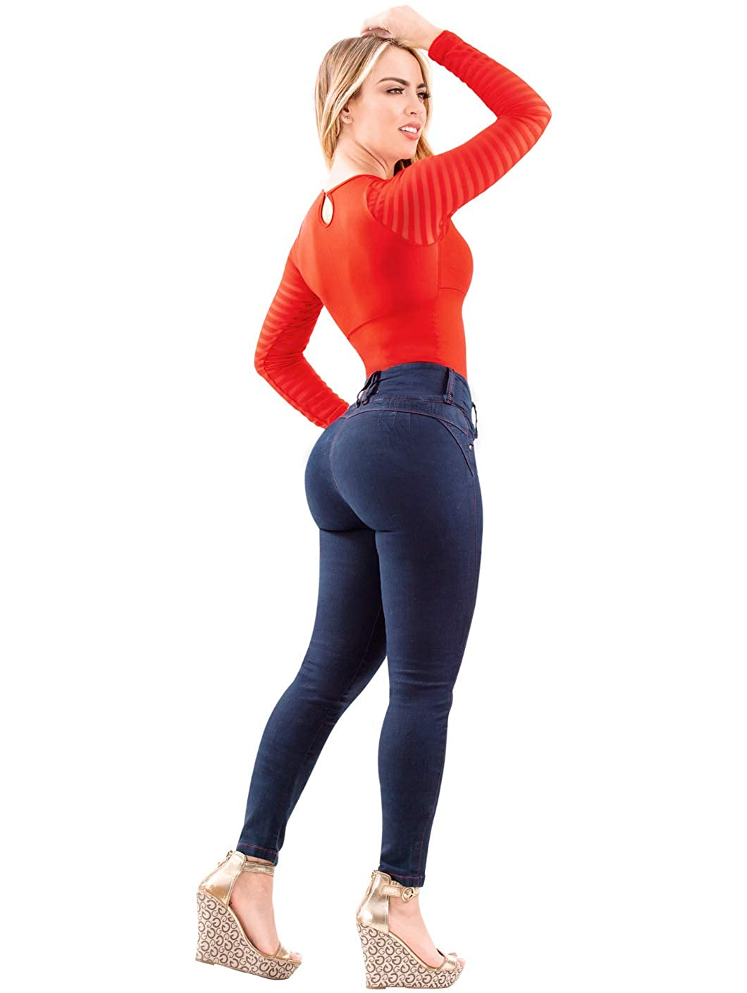 LATY ROSE 2017 JEANS COLOMBIANOS LEVANTA COLA BLUE DENIM BUTT LIFTER JEANS