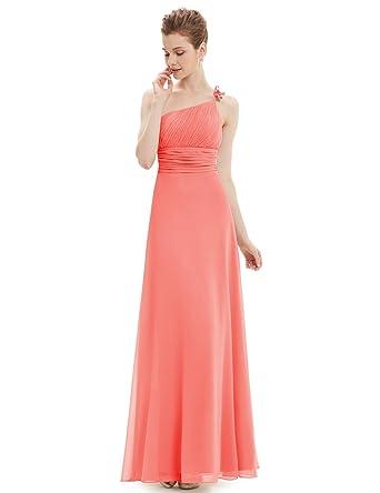 589b766e16c Ever-Pretty Robe de Soirée Longue Empire Seule Épaule en Fleurs de Volant  48 Corail  Amazon.fr  Vêtements et accessoires