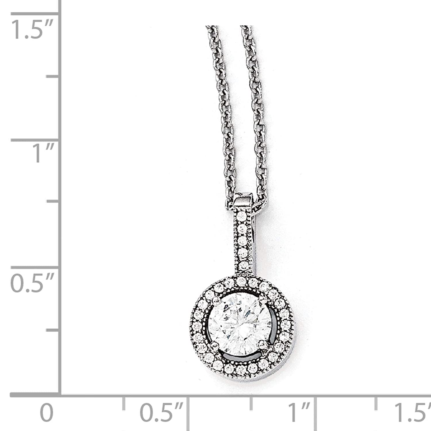 2 Extender Brilliant Embers Sterling Silver Rhodium-plated Polished CZ Pendant Necklace 18