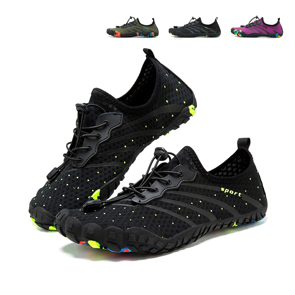 JOINFREE Mens Womens Quick Dry Aqua Water Shoes for Water Sport Exercise Boating Wading Shoes Pool Beach Swim Shoes Walking Sneaker (Black, 6 M US)