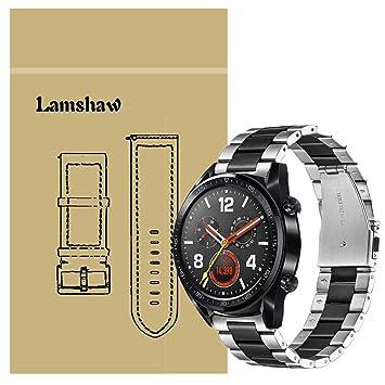 Ceston Metalica Acero Clásico Correas para Smartwatch Huawei Watch GT (Negro & Plata)