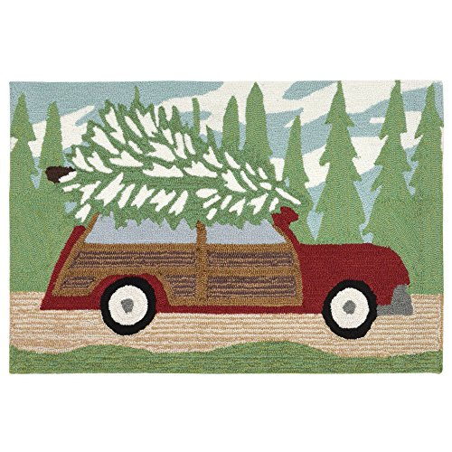 Liora Manne Whimsy Christmas Wagon Rug, Pine, Indoor/Outdoor, 20