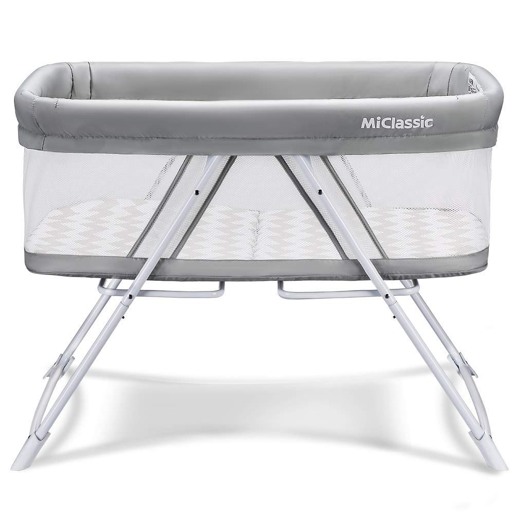 MiClassic 2in1 Stationary&Rock Bassinet One-Second Fold Travel Crib Portable Newborn Baby (Crystal)